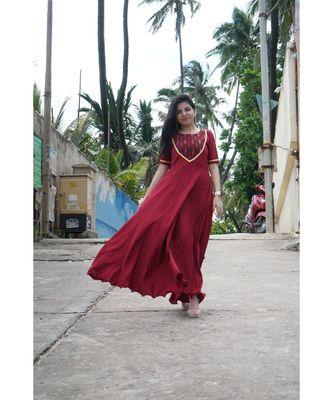 Maroon Ikat Gown