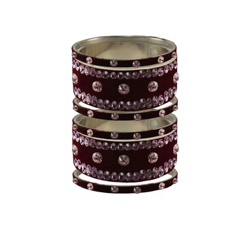 Dark Maroon  Stone Stud Brass Bangle