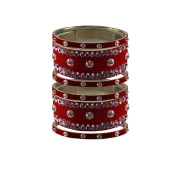 Red Stone Stud Brass Bangle