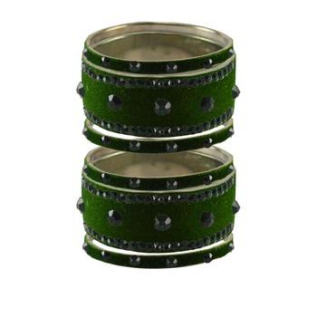 Dark Green Stone Stud Brass Bangle