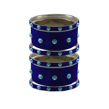 Blue Stone Stud Brass Bangle