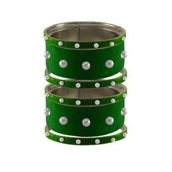 Green Moti Stud Brass Bangle