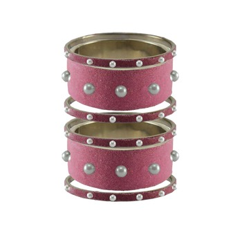 Dark Pink Moti Stud Brass Bangle