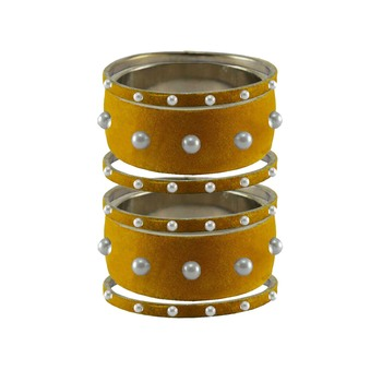 Light Brown  Moti Stud Brass Bangle