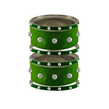 Green Moti Stud Brass Bangle