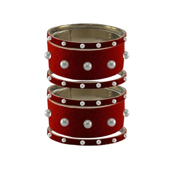 Red Moti Stud Brass Bangle