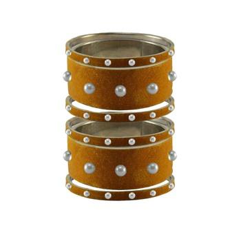 Dark Brown Moti Stud Brass Bangle