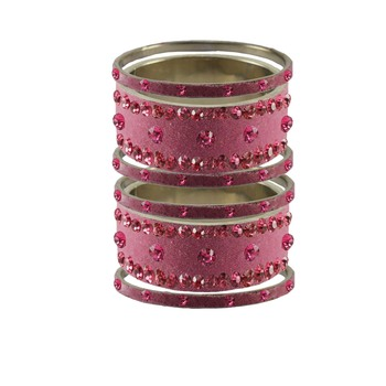 Dark Pink Stone Stud Brass Bangle