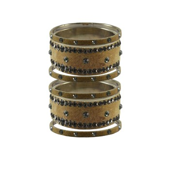Light Brown  Stone Stud Brass Bangle