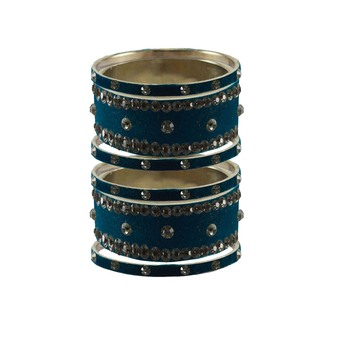 Voilet Stone Stud Brass Bangle