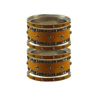 Dark Brown Stone Stud Brass Bangle