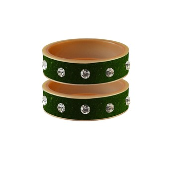 Dark Green Stone Stud Acrylic Bangle