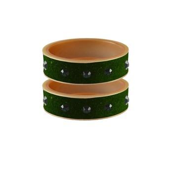 Dark Green Stone Stud Acrylic Bangle