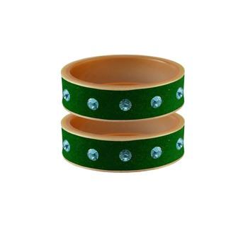 Green Stone Stud Acrylic Bangle