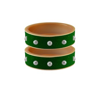 Green Moti Stud Acrylic Bangle