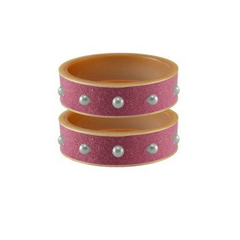 Dark Pink Moti Stud Acrylic Bangle