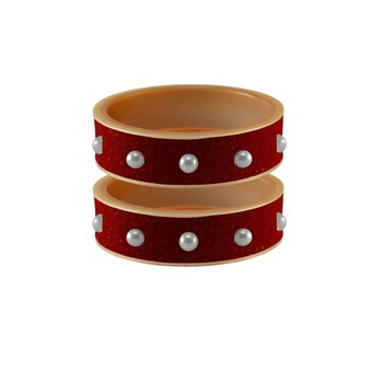 Red Moti Stud Acrylic Bangle