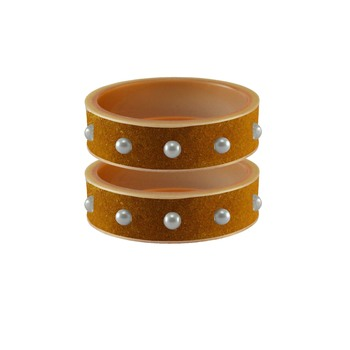 Dark Brown Moti Stud Acrylic Bangle