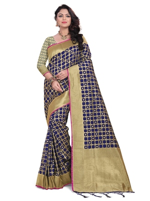 Navy blue woven banarasi silk blend saree with blouse