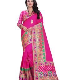 Buy Pink woven banarasi silk blend saree with blouse