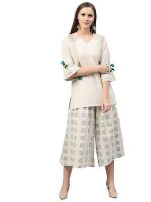 Off-white printed cotton  tunic and culottes