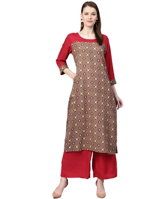 Brown printed cotton kurta with palazzo