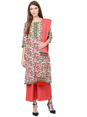 Off-white printed cotton kurta with palazzo and dupatta