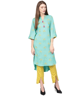Blue printed liva kurta with tulip trousers