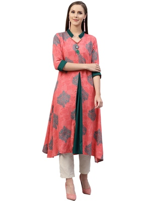 Coral printed liva kurtas-and-kurtis