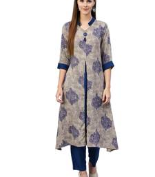Grey printed liva kurtas-and-kurtis