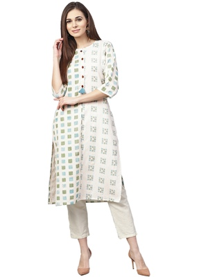 Off-white printed cotton kurtas-and-kurtis
