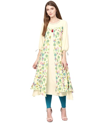 Yellow printed liva kurtas-and-kurtis