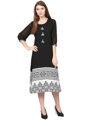Black printed georgette kurtas-and-kurtis