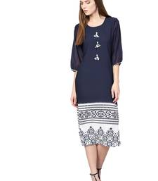 Navy-blue printed georgette kurtas-and-kurtis