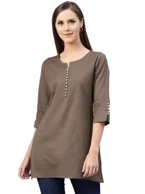 Dark-brown plain cotton kurtas-and-kurtis