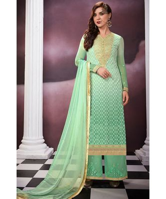 sea-green embroidered georgette semi stitched salwar with dupatta