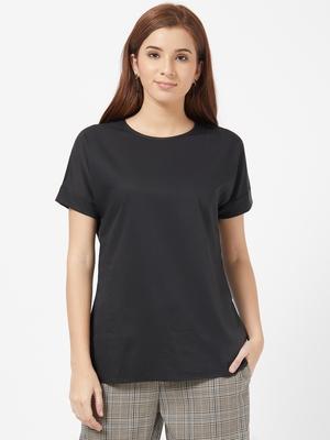 Black plain polyester long-tops