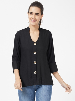 Black plain polyester long-tops