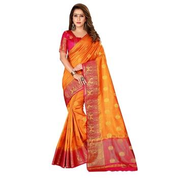 Gold woven nylon saree with blouse