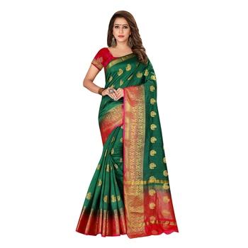 Green woven nylon saree with blouse