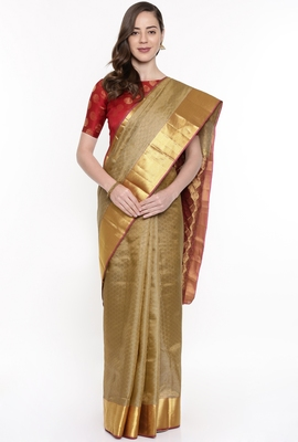 CLASSICATE From The House Of The Chennai Silks Women's Beige Dharmavaram Silk Saree With Running Blouse