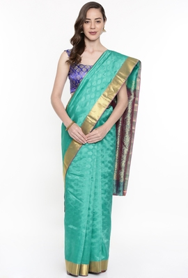 CLASSICATE From The House Of The Chennai Silks Women's Green Dharmavaram Silk Saree With Running Blouse