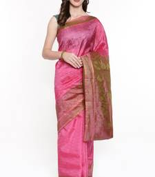 CLASSICATE From The House Of The Chennai Silks Women's Pink Dharmavaram Silk Saree With Running Blouse