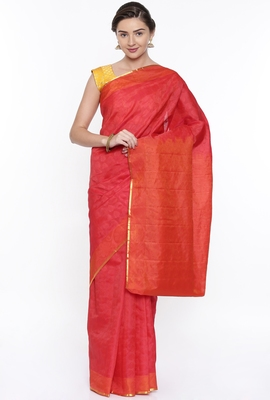 CLASSICATE From The House Of The Chennai Silks Women's Red Dharmavaram Silk Saree With Running Blouse