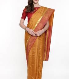 CLASSICATE From The House Of The Chennai Silks Women's Golden Dharmavaram Silk Saree With Running Blouse