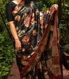 Multicolor Printed Tassar Silk Saree With Blouse