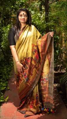 Multicolor Printed Tussar Saree With Blouse