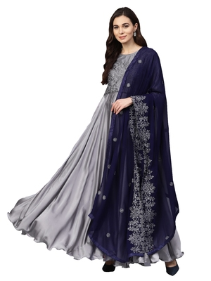 Grey Satin silk Embroidered Kurta Dupatta Set