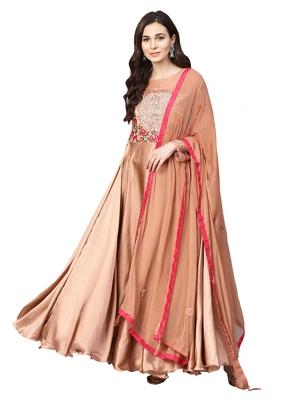 Rose Gold Satin silk Embroidered Kurta Dupatta Set