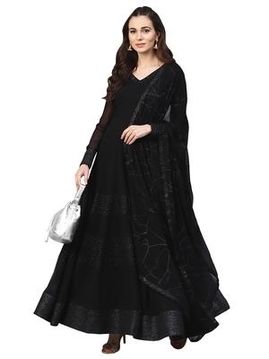 Black Georgette Embroidered Kurta Dupatta Set